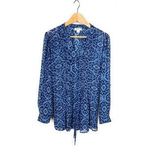 Style and Co Navy Blue Floral Top Blouse Ruffles